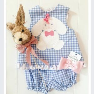 Bailey Boys Blue Bunny Gingham Baby Dress Bloomers